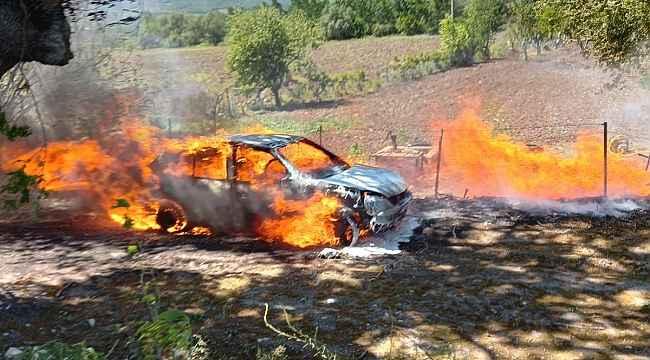 Ağaç artıklarını yaktı, aracı kül oldu