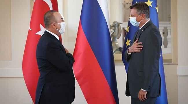 Bakan Çavuşoğlu, Slovenya Cumhurbaşkanı Pahor tarafından kabul edildi