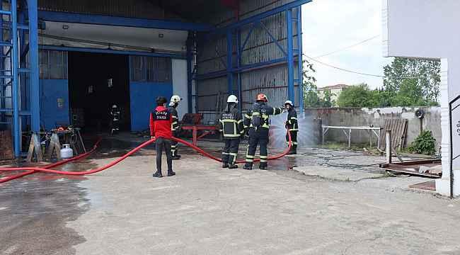 Fabrikada gaz kaçağından çıkan yangın korkuttu