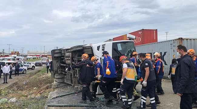 İşçi servisi yan yattı: 1 ölü, 20 yaralı - Bursa Haberleri
