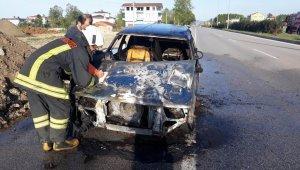 Samsun'da seyir halindeki otomobilde yangın çıktı