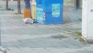 Tuzla'da giysi kumbarasındaki akıl almaz görüntü kamerada