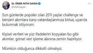 Ulaştırma ve Altyapı Bakan Yardımcısı Sayan'dan 20'li yaşlar challenge'a karşı uyarı