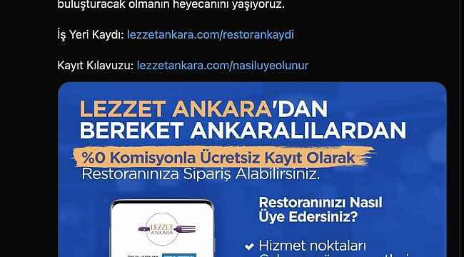 """Ankara Büyükşehir'den esnafa sıfır komisyonlu """"Lezzet Ankara"""" uygulaması"""