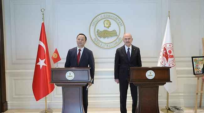 Bakan Soylu, Kırgızistan Dışişleri Bakanı Kazakbaev ile bir araya geldi