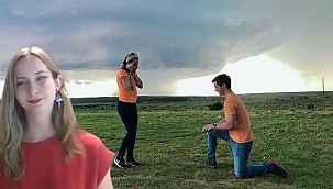 Hortumun kıyısında evlilik teklifine 'evet' dedi