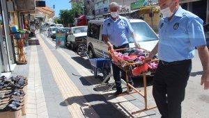 Kahta'da kaldırım işgali yapan esnaflar uyarılıyor