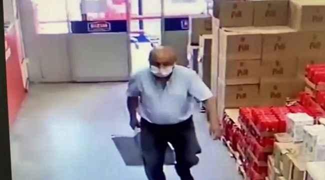 Marketten yağ tenekesi çalan şahıs kameralara yakalandı