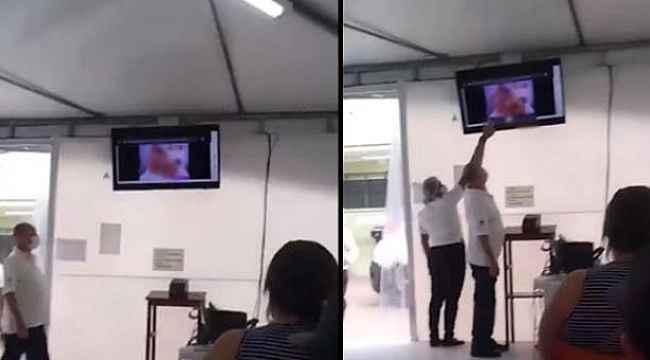Sağlık merkezinde skandal... Bekleme salonunun ekranında cinsel içerikli film oynadı