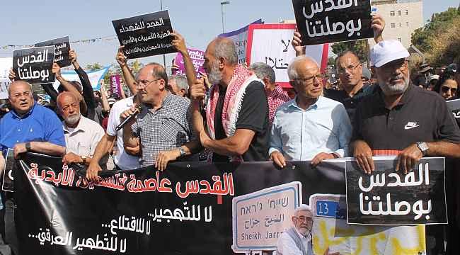 Şeyh Cerrah'ta zorla tahliye edilmek istenen Filistinli ailelere destek yürüyüşü