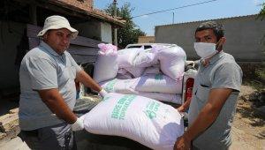 Tarlaları yanan çiftçilere tohumluk buğdayları dağıtıldı