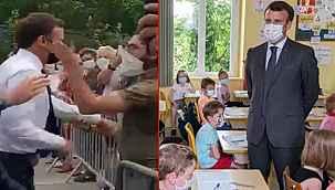 """Tokatlı saldırıya uğrayan Macron'a minik öğrenciden şok soru: """"Tokat nasıldı?"""""""