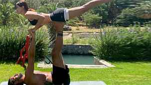 Volkan Demirel'in eşi Zeynep'le yoga yaptığı paylaşıma beğeni yağdı
