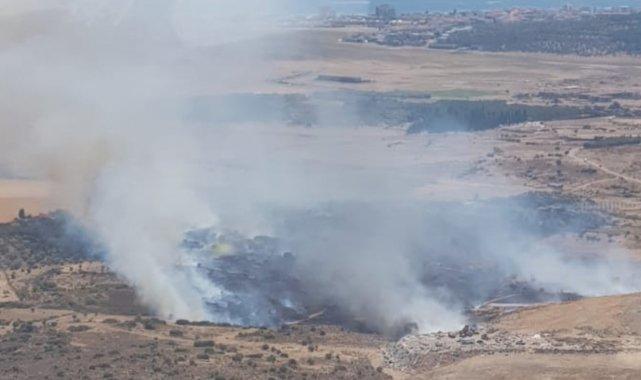 Ayvalık'ta çöplük yangınına havadan müdahale
