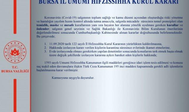 Bursa Valiliği'nden İl Hıfzıssıhha Kurulu açıklaması - Bursa Haberleri