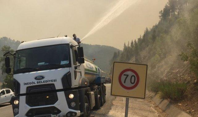 İnegöl ekibi yangın bölgesine desteğini sürdürüyor - Bursa Haberleri